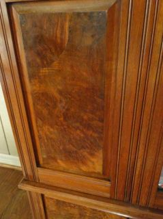 Antique English Victorian Mahogany Wardrobe Armoire Closet Mirror