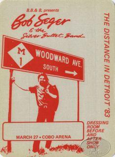 Bob Seger 1983 The Distance Backstage Pass Detroit Cobo Arena