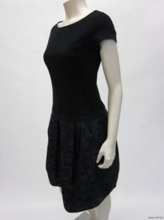 Lida BADAY Black Contrast Short Sleeve Drop Waist Dress Sz 8