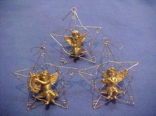 Lillian Vernon Gold Cherubs in A Star Great 3 Piece Christmas Ornament