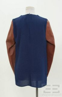 Phillip Lim Blue Silk Brown Leather Raglan Sleeve Top Size 6 New