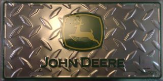 John Deere Diamond Green Aluminum Auto License Plate Tractor Farming