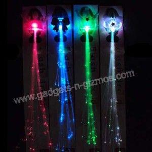 Pack LED Light Up Fiber Optical Hair Extension Clips Random Style
