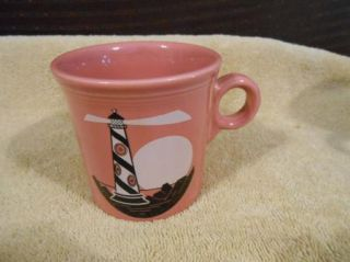 Laughlin Fiesta Ware Pink Rose Light House Coffee Cup Mug USA