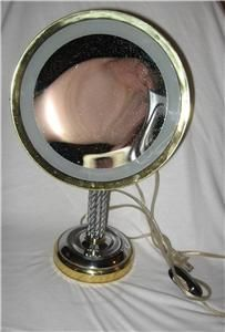 Lighted Pedestal Vanity Magnifying Makeup Mirror by Cane Reed