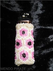 Peyote Stitch Beaded Lighter Cover Buckskin Pink Black