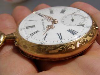 RRR Antique hand engraved 18k gold case Lip Chronometer pocket watch