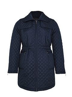Ann Harvey Navy blue quilted long line jacket Navy   House of Fraser