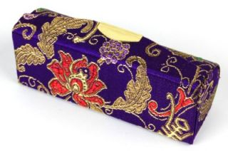 Silk Brocade Lipstick Case Purple Makeup Mirror Box