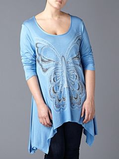 Lovedrobe Butterfly print asymmetric tunic Blue