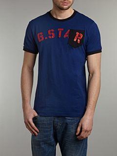 G Star Crew neck matador printed front T shirt Blue