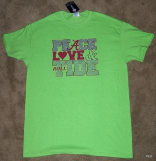 Alabama Crimson Peace Love Tide Lime Green T Shirt Roll Tee Bama