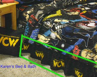 WCW Wrestling Boys Twin Black Bedskirt Bed Skirt New