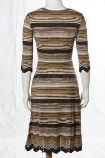 Lilja Gray Beige Ivory Striped Knit Cozy Casual Sweater Dress Sz M