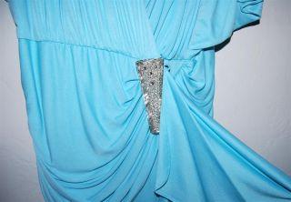 Lillie Rubin Aqua Blue Sequin Long Evening Dress Sz 12