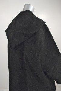 Limi Feu Yohji Yamamotos Daughter Black Wool Hooded Coat Brand New OS