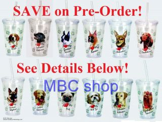 Dog Breeds Double Wall Insulated Clear Acrylic Drink Cups Lid Straw