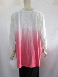 Belle Gray by Lisa Rinna 2X 3 4 Sleeve DIP Dye Tunic Blouse Coral
