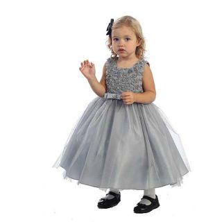 Angels Garment Little Girls 6 Silver Rosettes Glitter Christmas Dress