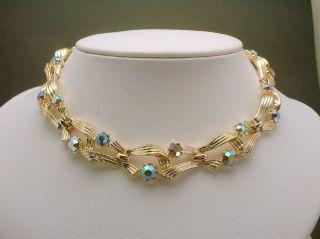 Vintage Lisner Necklace Aurora Borealis Rhinestone