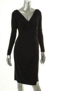 New Matte Jersey Faux Wrap Little Black Dress Petites 6 BHFO