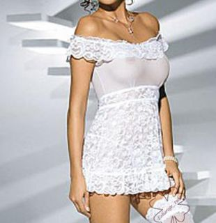 Sexy Lingeries See Through Night Dress T Back Lace Off Shoulder
