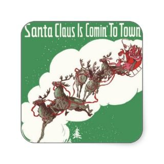 Vintage Christmas, Santa Claus is Coming to Town Sticker