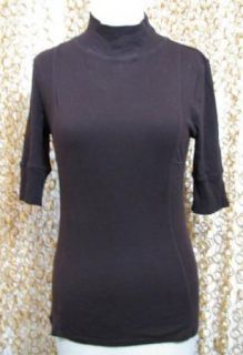 LINQ Anthropologie Brown 3 4 Sleeve Cotton Soft Knit Sweater Shirt Top
