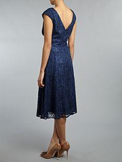 Ariella Lace v neck full skirt dress Navy