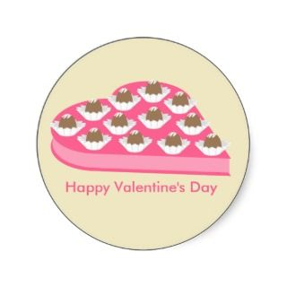Valentines Heart Shaped Box of Chocolate Candy Round Stickers