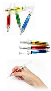 Colored Liquid Syringe Needle Tube Ball Point Pen Blue Ink Ballpoint
