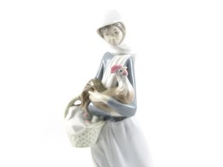 Lladro Porcelain Figure Girl with Cockerel