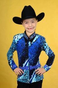 Lisa Nelle Little Blue Leopard Girls Rail Shirt Size s M