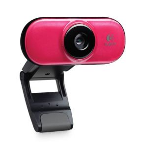 New Logitech Webcam C210 w Built in Mic 1 3 MP Clip Software Brick Red