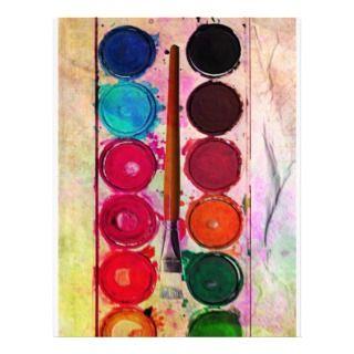 Fine Art Paint Color Box & Funny Artist Brush Custom Letterhead