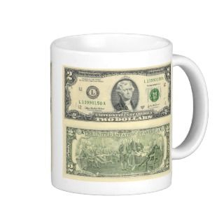Two Dollar Bill Federal Reserve Note Back & Front Mugs