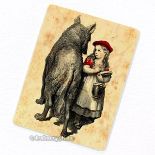 Little Red Riding Hood & Wolf Deco Magnet, Vintage Illustration