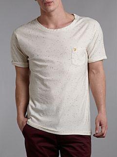 Farah Multi speck print t shirt Ecru