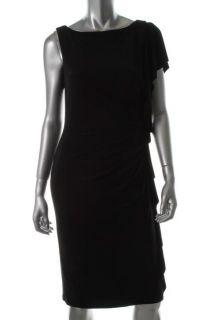 Black Ruffed Ruched Matte Jersey Casual Little Black Dress 8