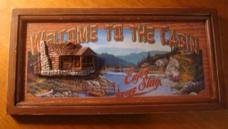 Welcome to The Cabin Enjoy Your Stay Rustic Lodge Log Home Wall Decor