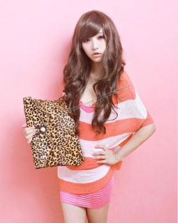 Lovely Princess Style Multicolor Long Hair Oblique Bangs Wigs
