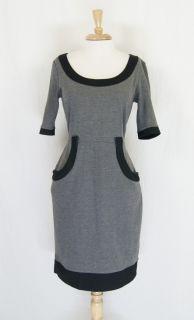 London Times Gray Black Stretch Knit Career Dress Size 10 DT667RN