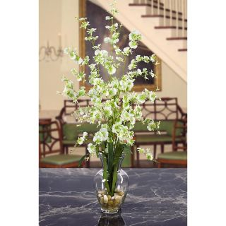 New Silk Green Orchid Flower Arrangement w Vase Fake Liquid