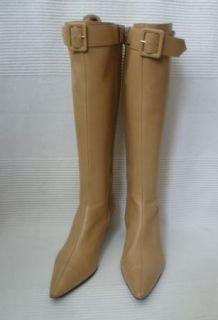 LK Bennett Camel Beige Leather Knee High Buckle Detail Boots 39 UK 6