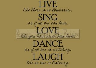 Live Sing Love Vinyl Wall Saying Lettering Quote Art Decoration Decal