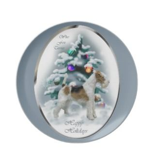 Wire Fox Terrier Christmas Plates