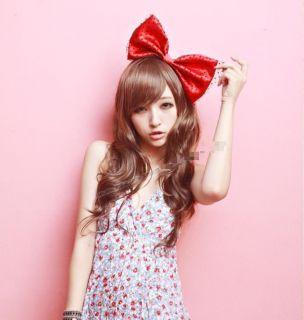 wig scroll fluffy oblique bangs long hair girls Korean