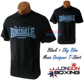 LONSDALE LONDON Black + Sky Blue Logo T Shirt ★ Brand New with Tags