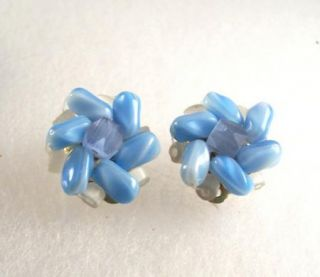 Vintage Blue Satin Glass Necklace Earrings Married Set
