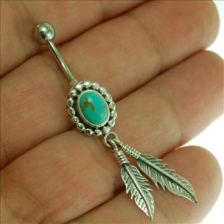 Native American Belly Button Navel Ring w Turquoise 316L Steel Silver